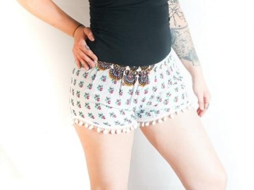 boho clothing, festival shorts, pattern shorts, boho shorts, gypsy shorts, hippie shorts, flowy shorts, pom pom shorts