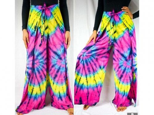 boho clothing, boho wrap pants, hippie wrap pants, pattern wrap pants, tie dye wrap pants, tie dye pants